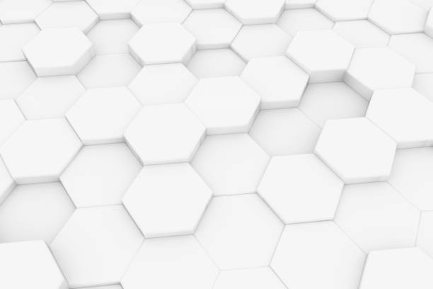 hexagonal, honeycomb abstract 3d background - esagono foto e immagini stock