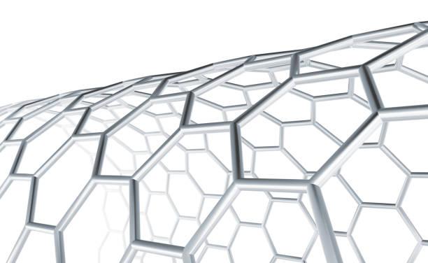 hexagonal molecular structure, 3 d lattice - graphene stock photos and pictures
