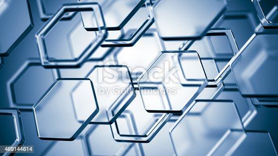 868264184 istock photo Hexagonal molecular structure on blue background 469144614