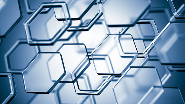 Hexagonal molecular structure on blue background stock photo
