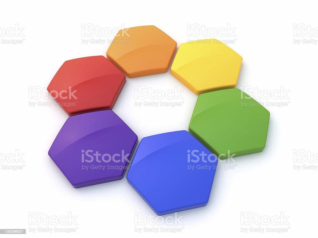 Hexagonal Сolor wheel royalty-free stock photo