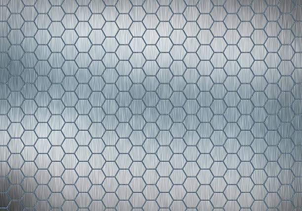 hexagonal patern on metal plate stock photo