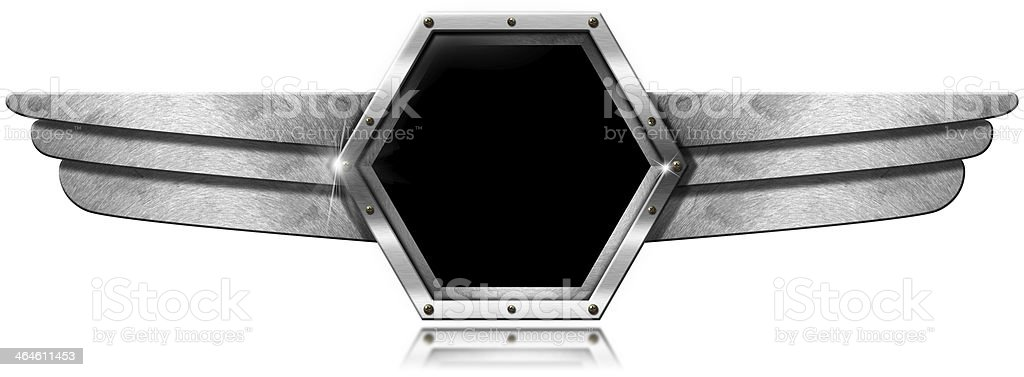 Hexagonal Porthole with Metal Wings stock photo