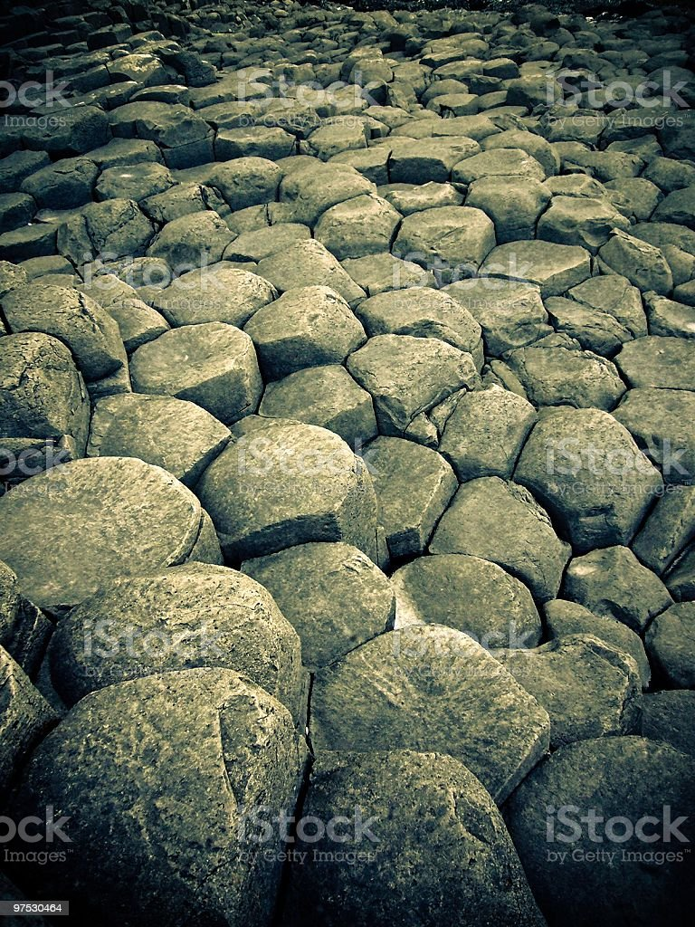 Hexagonal rock formation of the Giants Causeway royalty-free stock photo