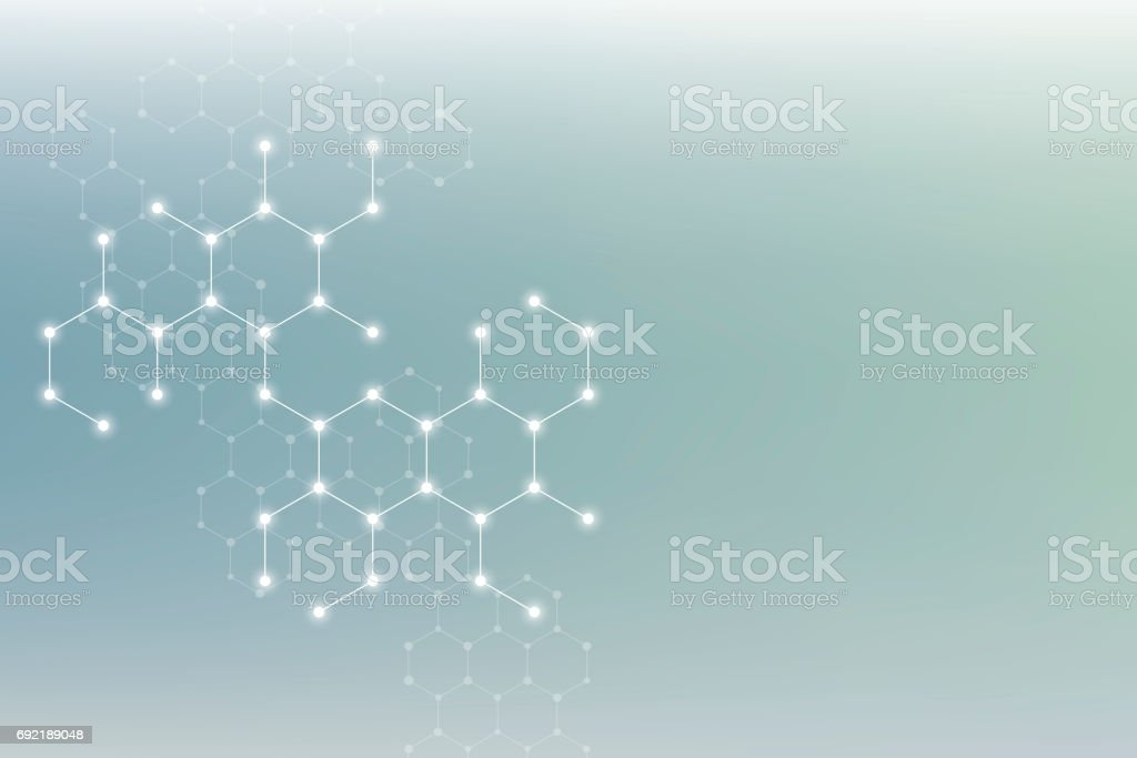 Hexagonal structure molecule dna of neurons system, genetic and chemical compounds. Illustration stock photo