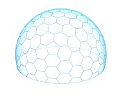 Hexagonal transparent dome 3d isolated illustration