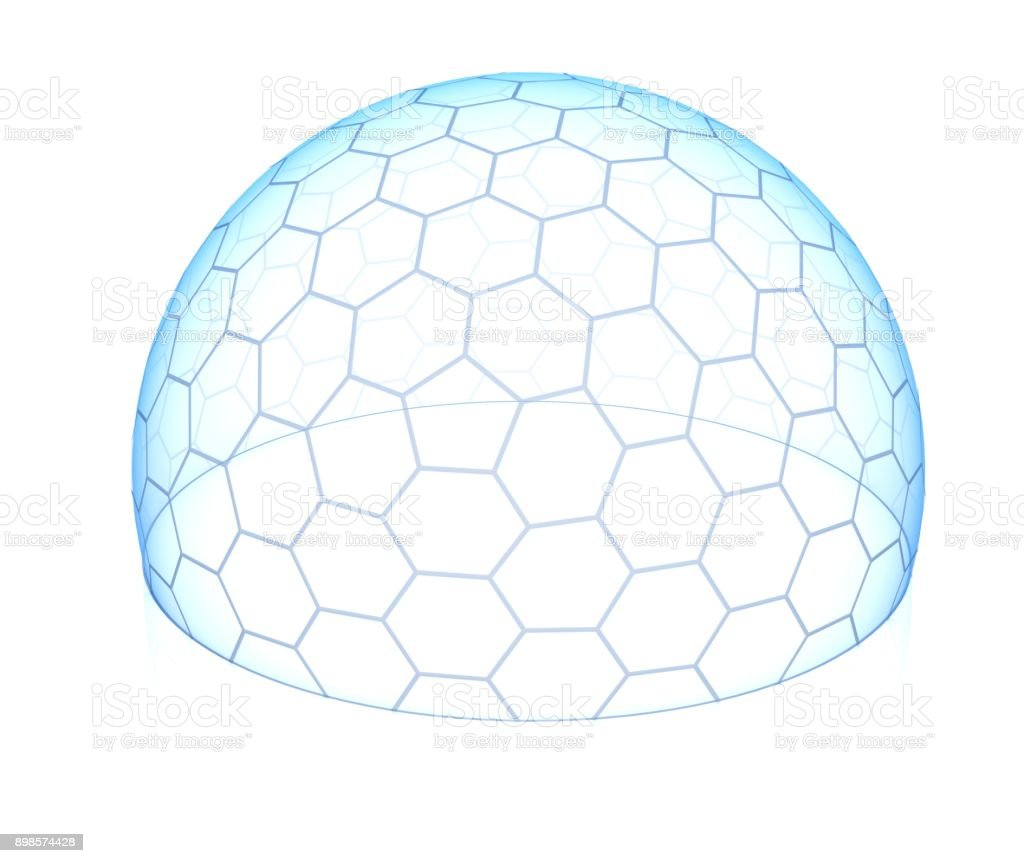 Hexagonal transparent dome 3d isolated illustration stock photo