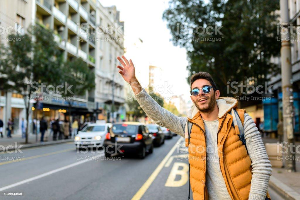 Hey taxi! stock photo