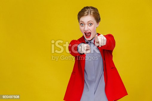 istock Hey you! caucasian business woman pointing finger at camera. 920497508