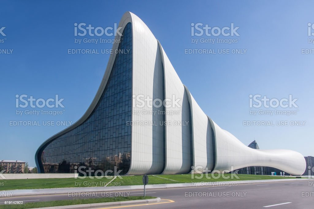 Heydar Aliyev Center building complex in Baku, Azerbaijan designed by Iraqi-British architect Zaha Hadid stock photo