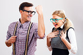 istock Hey,hey my nerdy lady,you are safe with me! 529402617