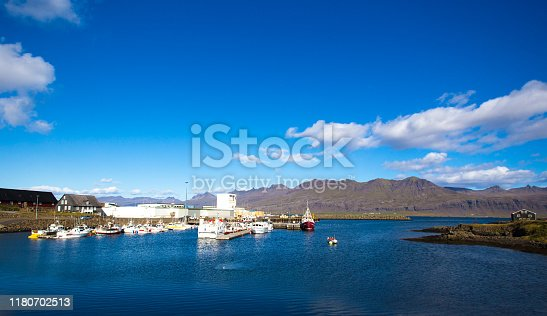 Höfn, Iceland: Fishing boats in colorful sunlit harbor at midday. Höfn is a fishing village in southeast Iceland.