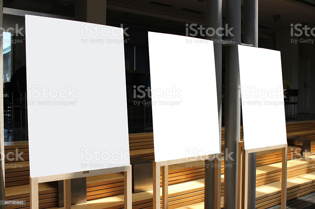 H-frame easels with white board stock photo