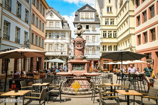 Frankfurt am Main, Germany - June 20, 2020: Hühnermarkt square with Stoltze-Brunnen fountain, center of the reconstructed