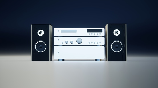 3D rendering of stereo system on black background