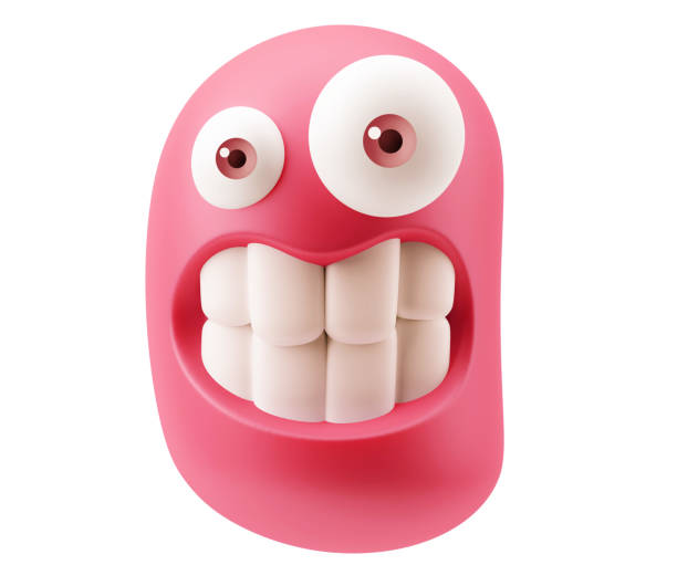 Hi Resolution Emoticon Expression Funny Emoticon Character Face Expression. 3d Rendering. clenching teeth stock pictures, royalty-free photos & images