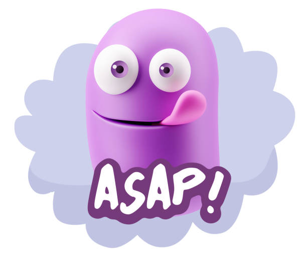Hi Resolution Emoticon Expression 3d Illustration Laughing Character Emoji Expression saying Asap with Colorful Speech Bubble ASAP stock pictures, royalty-free photos & images