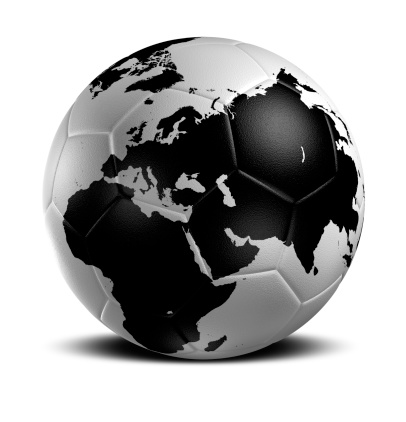 hi resolution Soccer Ball-Globe with clipping path