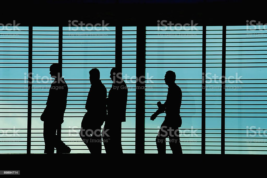 Hi Tech Silhouettes of People Walking to Work royalty-free stock photo