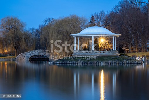 Night Closeup View of Hiawatha Lake Footbridge and Gazebo in Onondaga Park, Known Locally as Central Park in Syracuse, New York - One of the Most Visited Travel Destinations in Upstate New York.