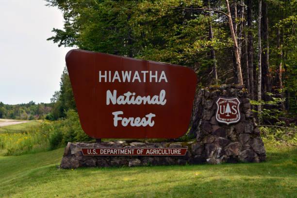 Hiawatha National Forest Sign stock photo
