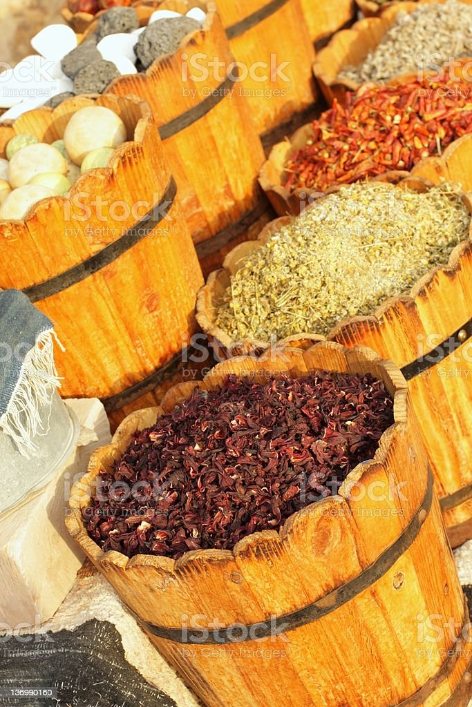 Hibiscus tea and spices for sale royalty-free stock photo