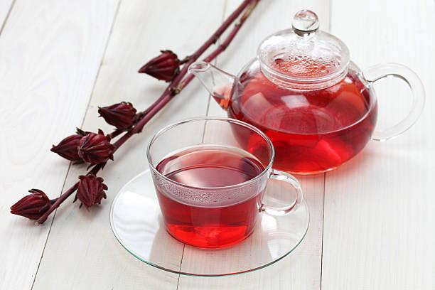 hibiscus tea - foderblad bildbanksfoton och bilder