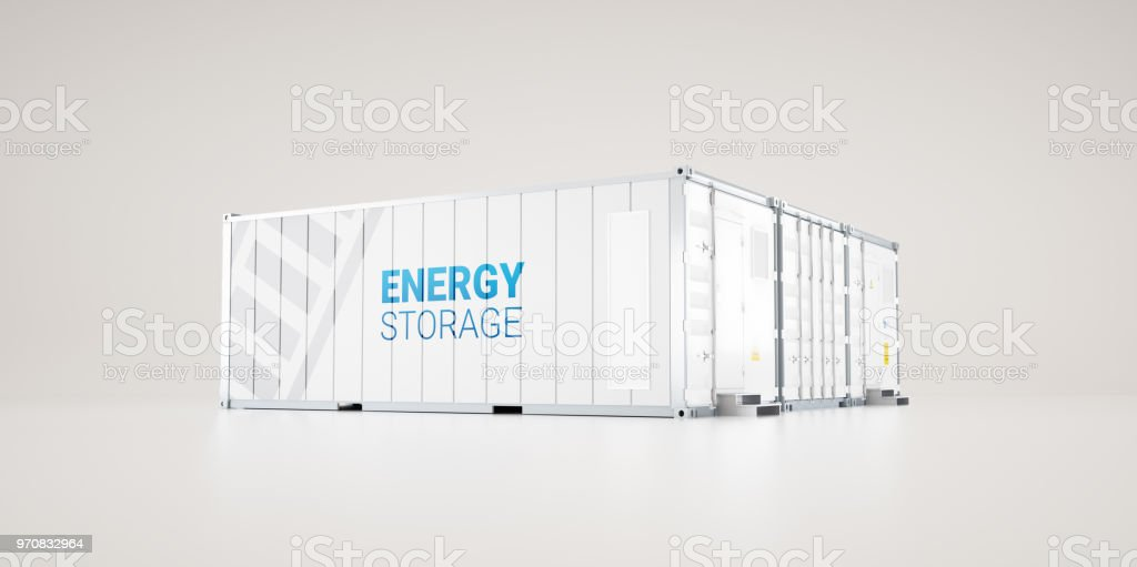hi-capacity battery energy storage facility made of industrial shipping containers. 3d rendering. stock photo