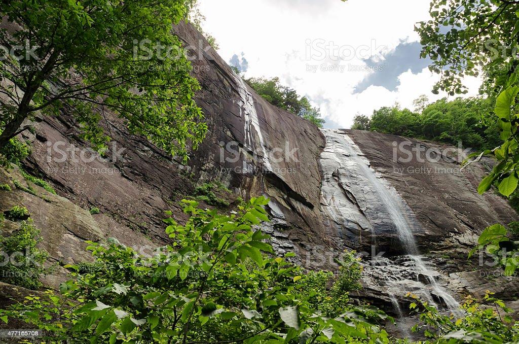 Hickory Nut Falls in Chimney Rock State Park, North Carolina stock photo