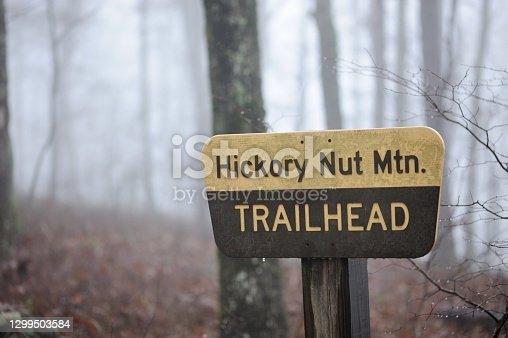 Hickory Nut Mountain Trailhead on foggy day