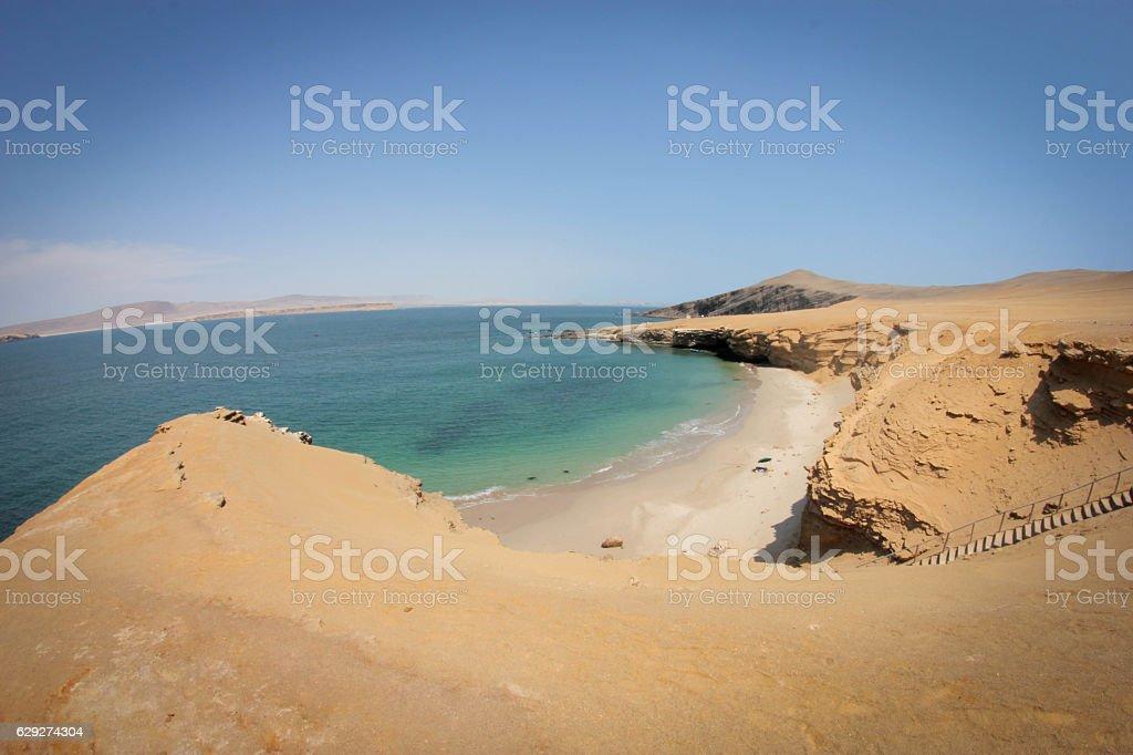 Hidden beach in the desert stock photo