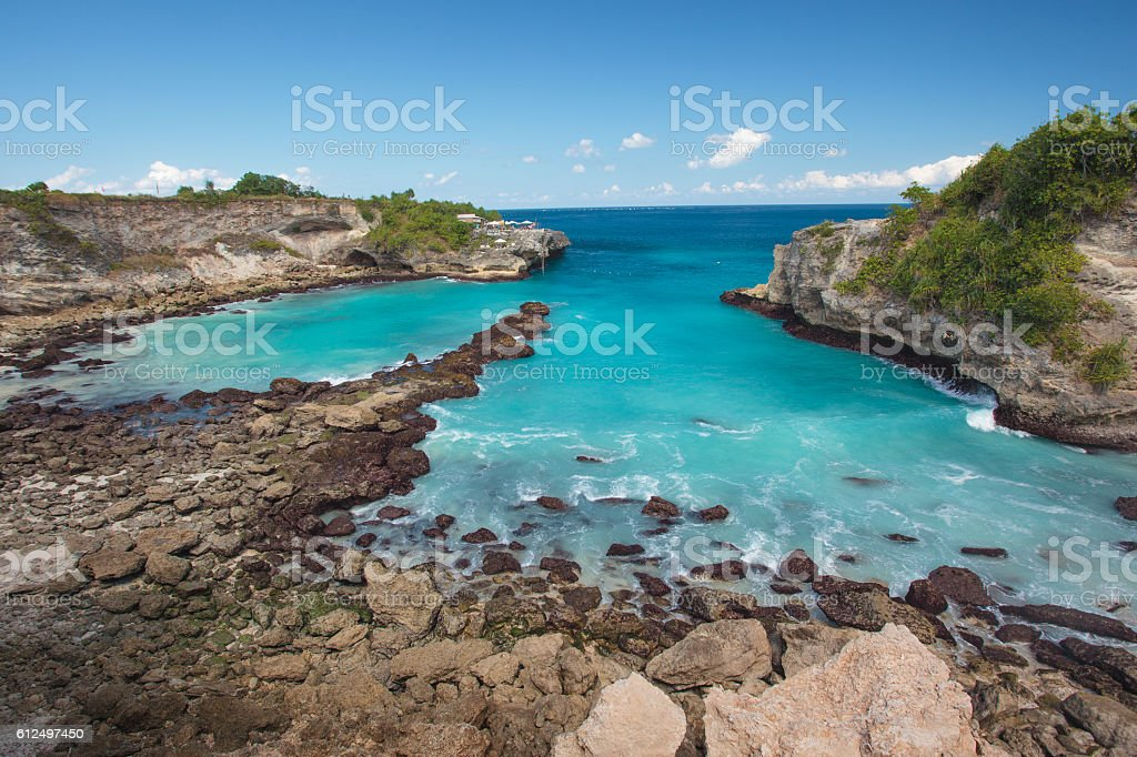 Hidden beach view with the blue sky In Lembongan, Bali stock photo