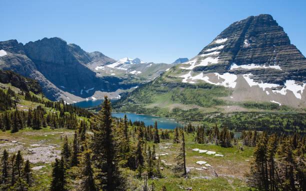 hidden lake at logan pass, glacier national park (montana) - logan pass stock pictures, royalty-free photos & images
