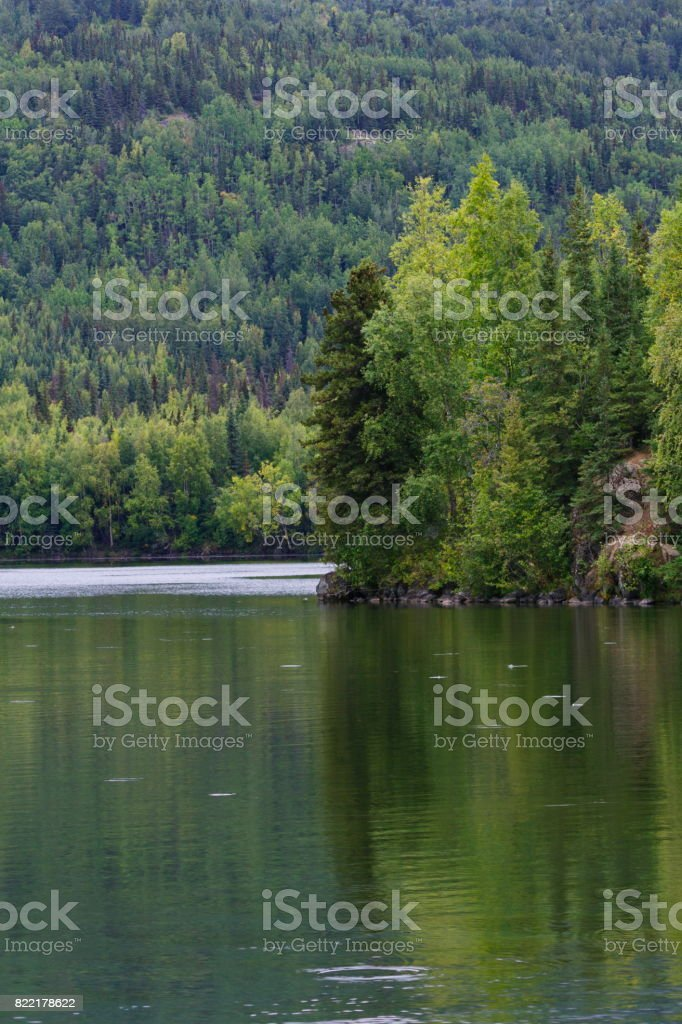 Hidden Lake in Alaska with ripples of trout in water stock photo