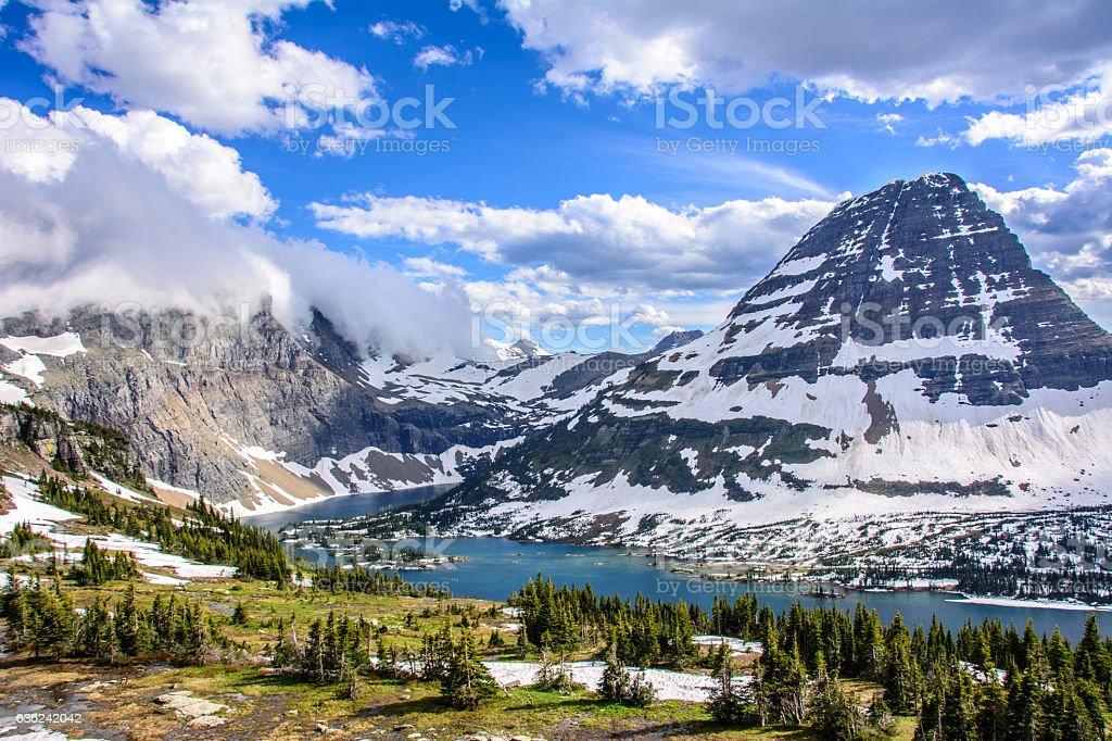 Hidden Lake in Glacier National Park, Montana stock photo