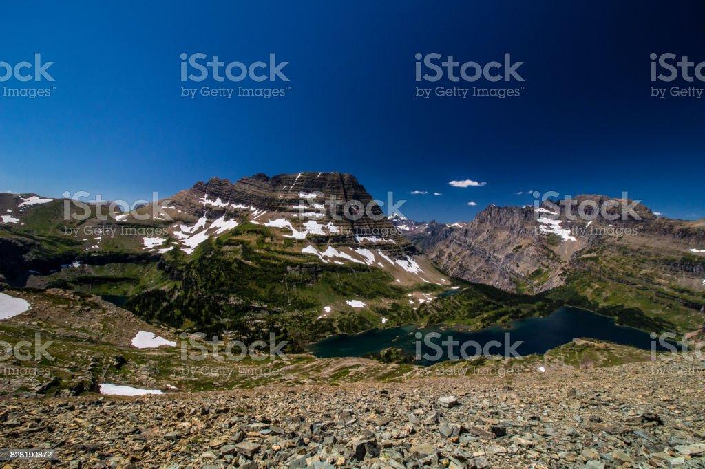 Hidden Lake Panorama stock photo
