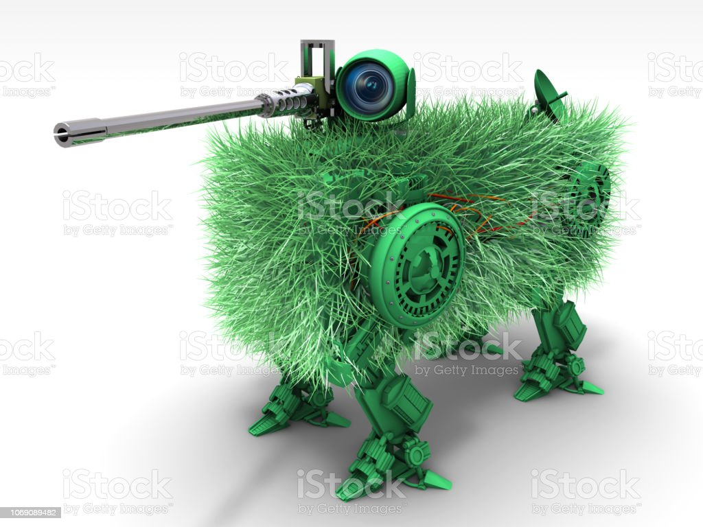 Hidden Military Sniper Robot Abstract camouflage sniper robot. Future of US Army. Apocalypse Stock Photo
