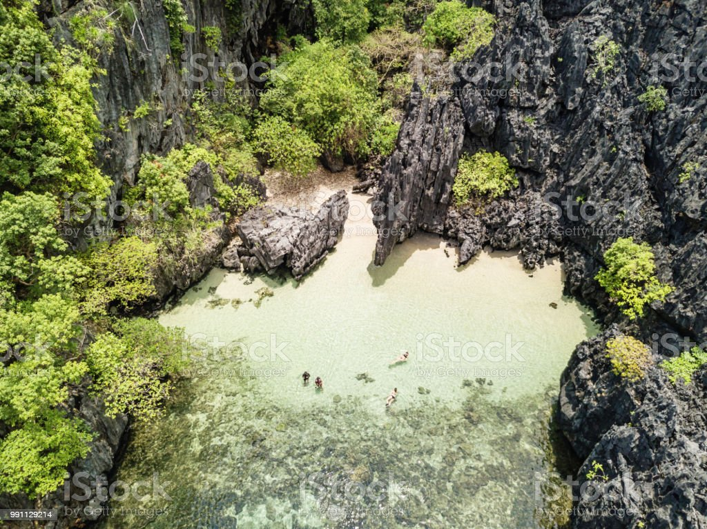 Hidden Paradise Beach Matinloc Island El Nido Philippines stock photo