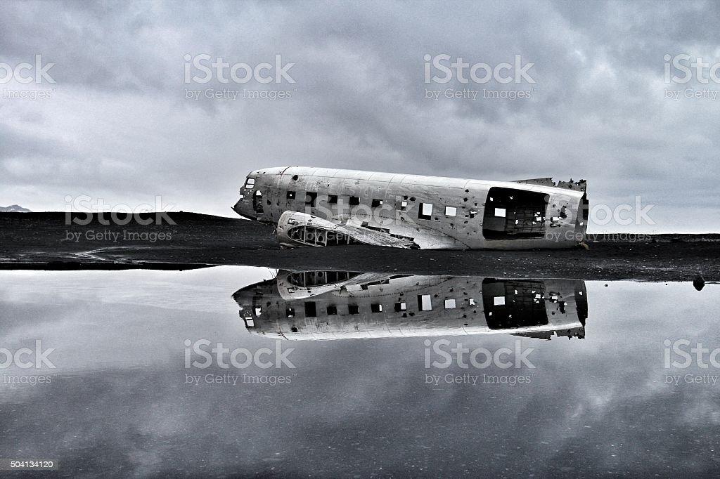 Hidden plane wreck, Iceland stock photo