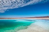 Lagoas salgadas no deserto do Atacama com cores vibrantes e céu azul.