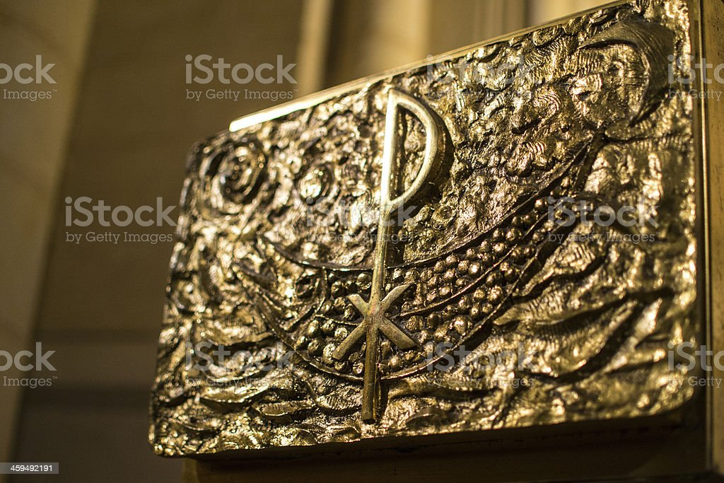 Hidden relic with gold leaves stock photo
