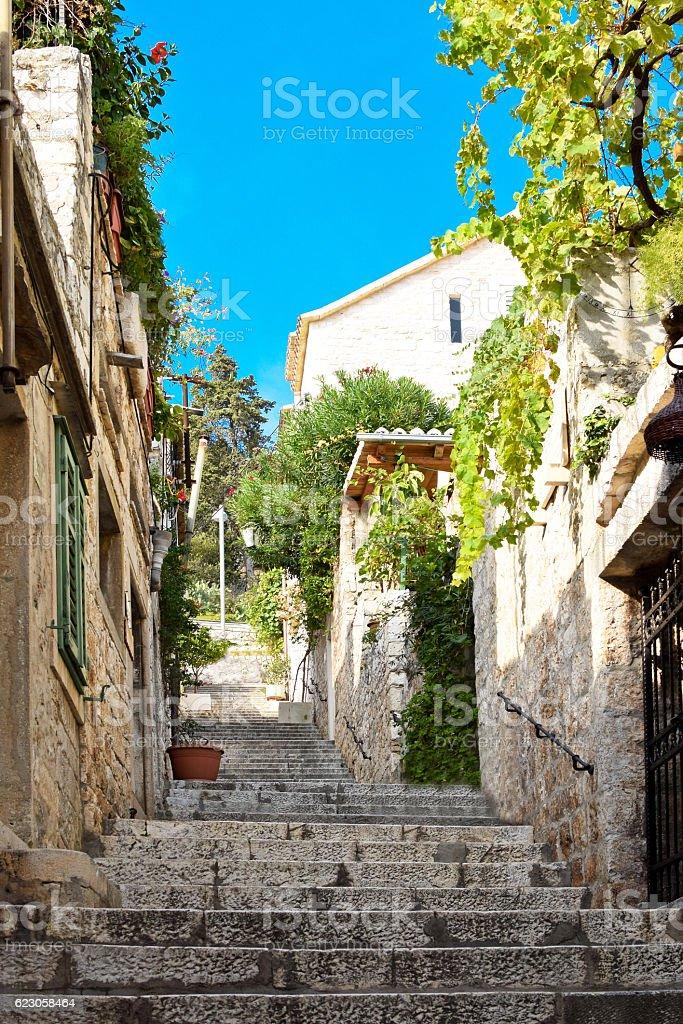 Hidden street in Hvar city in Croatia stock photo