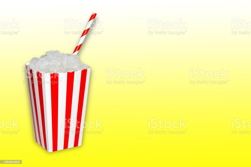 Hidden sugar in food and soft drinks, beverages, a popcorn box full...