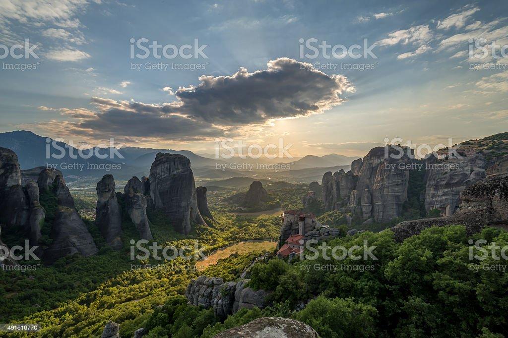 Hidden sun in Meteora - Greece stock photo