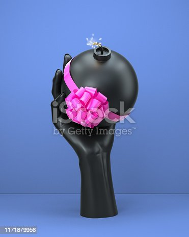 Hidden threat abstract concept, lie and fraud, black hand holding bomb with bow. 3d illustration
