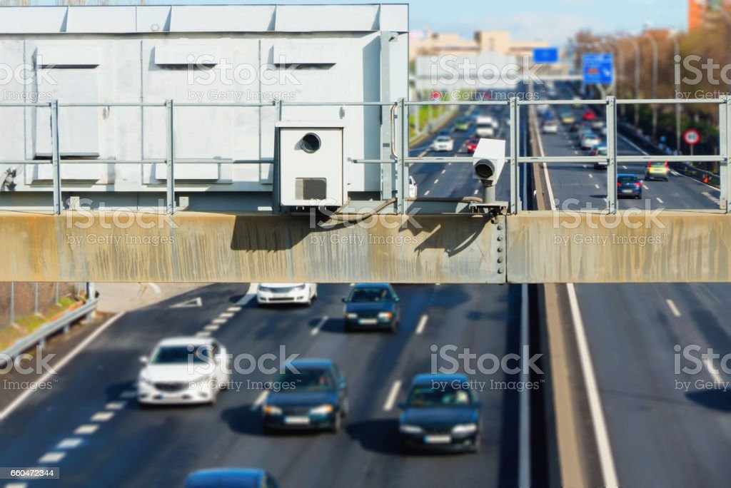 hidden traffic radar speed enforcement stock photo