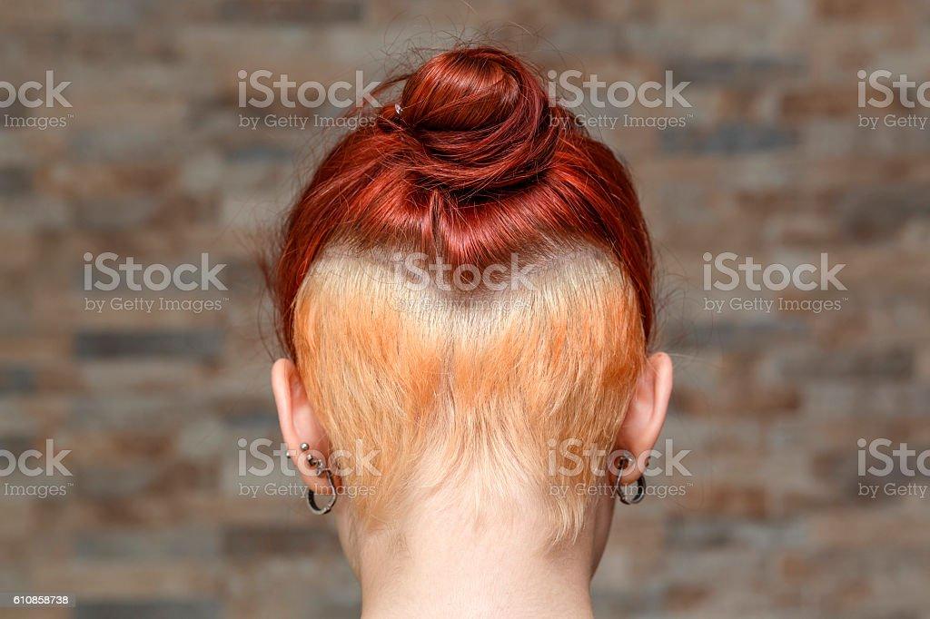 hidden undercut bleached hair stock photo