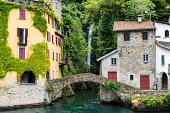 In the small quaint village of Nesso on Lake Como, Italy there is a hidden waterfall that can be seen from the lake.