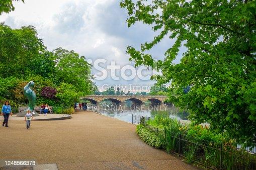 London/UK - June 3, 2017 - River, bridge and sculpture in Hide Park