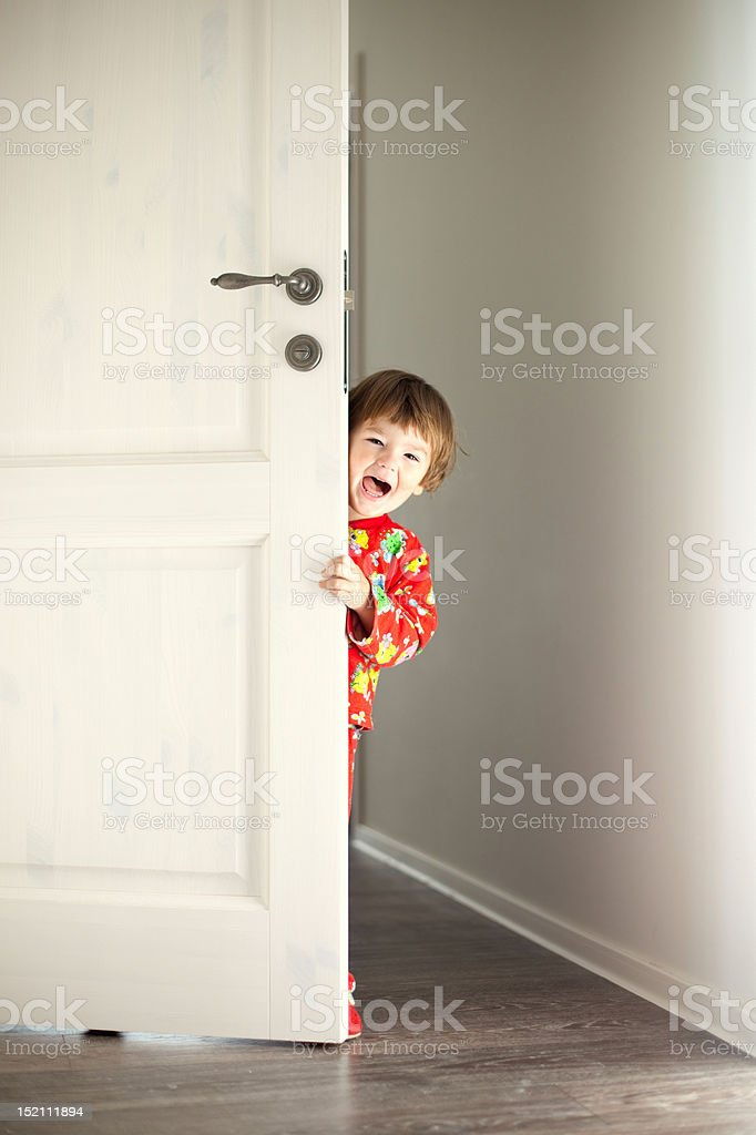 hide-and-seek player stock photo